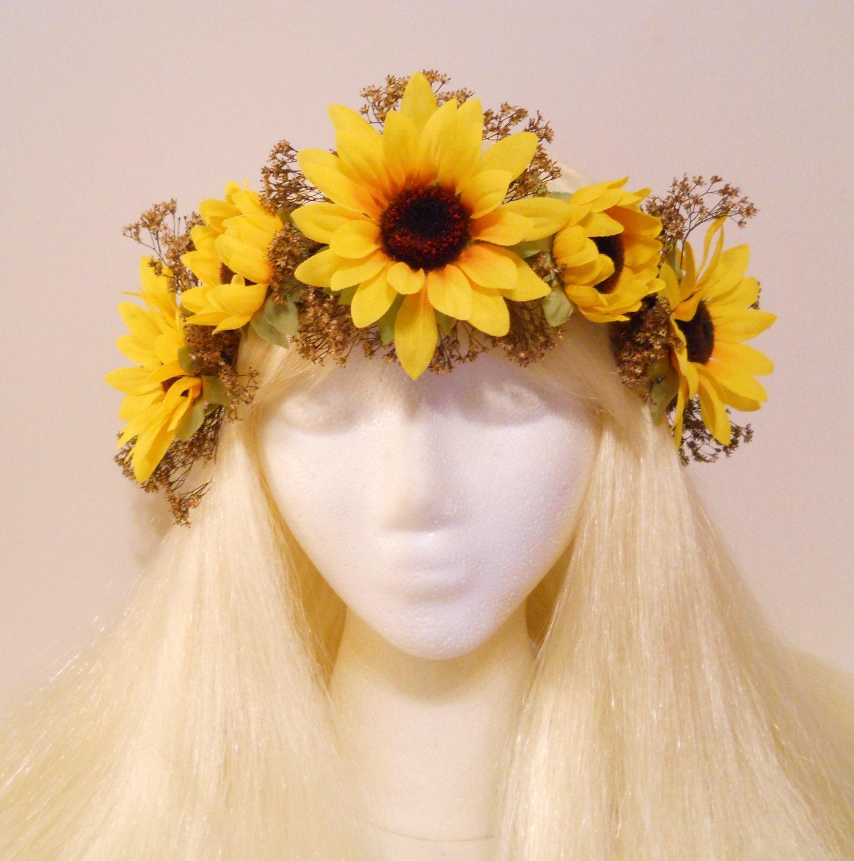 Sunflower Crown Baby S Breath Flower Crown Head Wreath