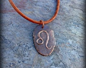 Leo zodiac symbol pendant The Lion necklace - Written in the Stars - artisan bronze astrology jewelry star signs August birthday gift