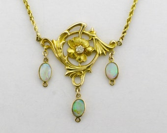 Art Nouveau Necklace; Art Nouveau Opal Necklace; Yellow Gold Necklace; Yellow Gold Opal Necklace; Diamond Art Nouveau Necklace
