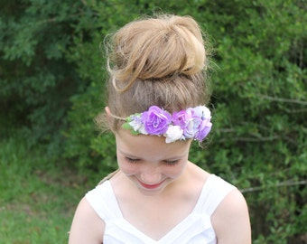 Floral Crown in Purple Lavender Ivory - Maternity, Wedding, Bridal, Newborn, Baby, Child - Tieback Headband Photo Prop - Ready to Ship