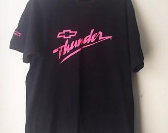 Vintage Chevy Thunder Black Tshirt, Hot Pink Logo, West Michigan Dealers, Worn In Tee, 80s/90s Size XL Unisex Adult, Grunge Retro