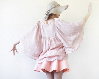 Vintage dusty rose pale pink gypsy bohemian spirit butterfly wing sleeve full sweep blouse top
