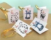 5 Mini Xmas Card Gift Tags, Cat Christmas Cards, Cat Christmas Gift Tags, Funny Cat Christmas Cards, Cat Gift Tags, Cat Xmas Gift Tags, Cats