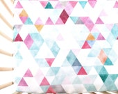 Crib Sheet Orchid Watercolor Triangles. Fitted Crib Sheet. Baby Bedding. Crib Bedding. Minky Crib Sheet. Crib Sheets. Pink Crib Sheet.