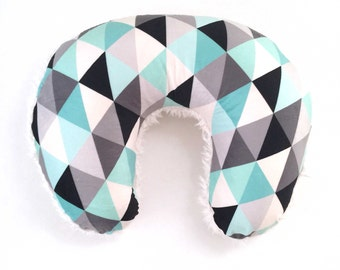 Nursing Pillow Cover Black + Mint Triangles + Cloud. Nursing Pillow. Nursing Pillow Slipcover. Minky Nursing Pillow Cover.