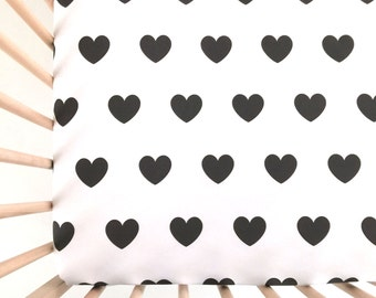 Crib Sheet Black Hearts. Fitted Crib Sheet. Baby Bedding. Crib Bedding. Crib Sheets. Black and White Crib Sheet.