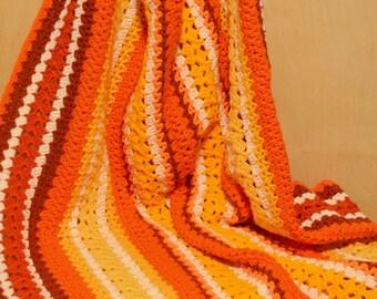 Crochet Afghan, Orange and Yellow Blanket