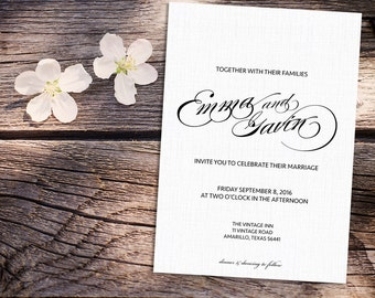 White Linen Wedding Invitation with Envelopes