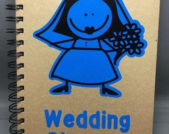 A5 Wedding Planner Notebook with Cartoon Style Blue Vinyl Bride
