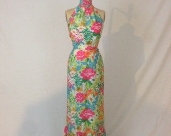 1970s Floral Halter Top & Skirt - Concept 70s Swirl