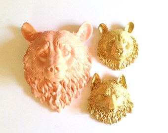 SET of 3 ANY color: 1 Large Faux Bear Head and any 2 small faux taxidermy animal head wall mounts wall hanging // nursery // office // kids