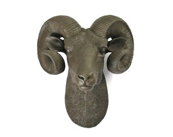 DARK BROWN Faux Taxidermy Ram Head wall mount wall hanging:  Rodger the Ram / farm house decor / gift / cabin decor / fake ram /