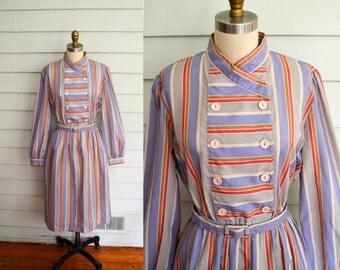 vintage 1970s striped shirtdress / Medium vintage dress / Large vintage dress / striped dress / pastel dress / pink gray brown purple