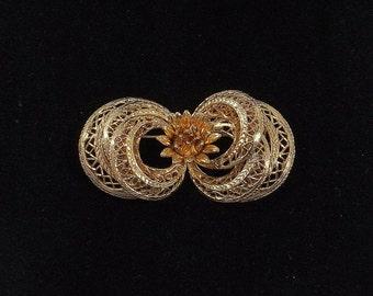 COROCRAFT Gold Filigree and Flower Brooch