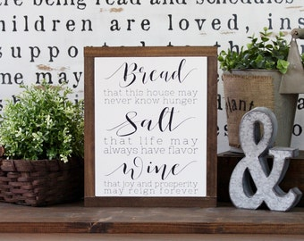 Wood Sign, Housewarming Gift, Bread Salt And Wine, It's A Wonderful Life Quote,Framed Wall Art, Rustic Wood Signs, Hand Painted Wood Sign,