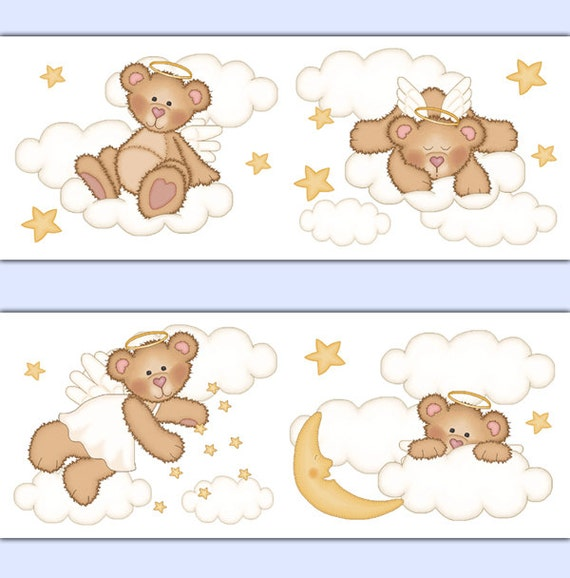 Angel Teddy Bear Nursery Decals Wallpaper Border Wall Art
