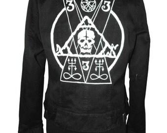 Laura Diamond occult spikes biker jacket heathen bitch