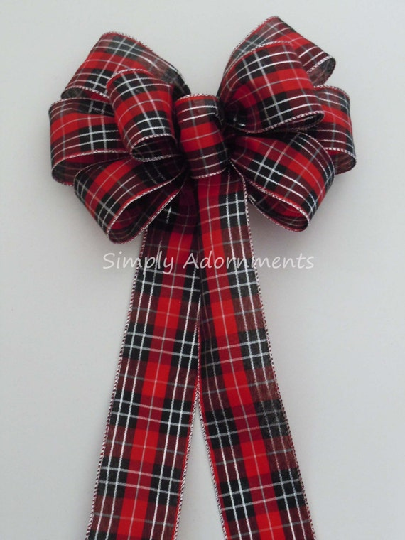 Red Black Silver Plaid Wreath bow Christmas Country Wreath Bow Red Black Tartan Bow Country Wedding Bow Christmas Plaid Bow Cabin Plaid bow