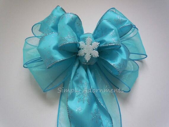 Blue Silver Snowflake Bow Blue Frozen Disney Party Decor Blue Snowflakes Wedding Pew Bow Blue Frozen Birthday Decor Frozen Gift Bow