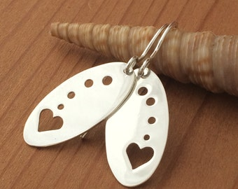 "Silver Heart Earrings ""Just the Back""  All handmade and Hand Sawed One of a Kind"