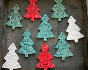 Ceramic Christmas Tree Ornaments Lots of Lace Ceramic Winter Home Decoration