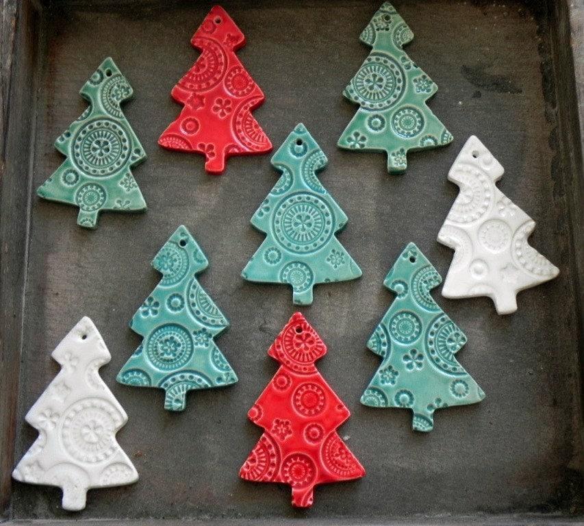 Ceramic christmas tree ornaments white ceramic tree pottery for Christmas tree decorations sale