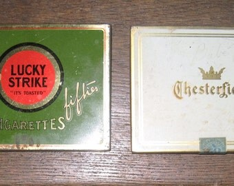 Lucky Strike Flat Fifties and Chesterfield Vintage Cigarette Tins - Cigarette Tins with Original Stamps - Two Virginia Tins