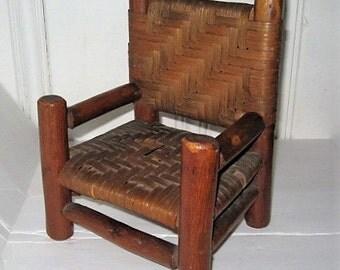 Vintage Handmade Oak Splint Chair - Primitive Rustic Handmade Miniature Splint Oak Chair - Vintage Splint Oak Chair