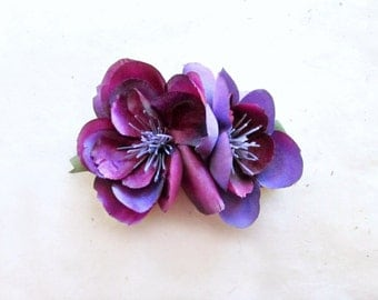 Purple Flower Hair Clip. Fabric Flower Plum Bridesmaid Hair Accessories. Rustic Chiffon Flower Hair Accessory for Floral Woodland Wedding.