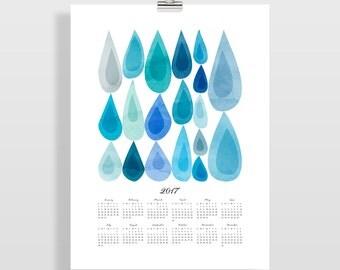 2017 Wall Calendar, Large Wall Calendar, Office Wall Decor, Art Calendar, Calendar 2017, Office Wall Art, Wall Art Print, Raindrops
