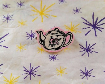 teapot cute art pin badge pink