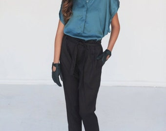 Elegant maxi black pants with pockets 3003