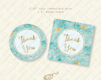Gold and Aqua Blue Mermaid Thank You Tags printable favor tag fish scales instant download digital pdf pool party birthday baby shower sea
