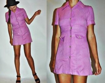 1960s / 1970s Magenta Purple Mod Mega Mini Dress