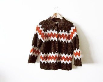 Knit Cardigan / 70s Cardigan Sweater / Chevron Knit / Womens Chunky Sweater