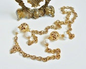 Gold Chain Necklace, Large Links, Big Faux Pearl Beads, Gold Tone Filigree Floral Balls, Chunky Chain Necklace