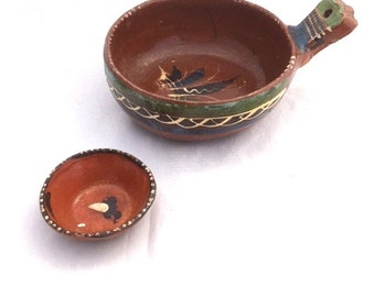 Vintage MEXICAN Folk Art Pottery Bowl Two Piece Set / Handpainted