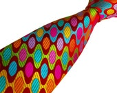 Unusual Mens Ties - Amazing Sudbury Silk Necktie - Handmade in England - Geometric Bright Red & Multicolour - Gift For Him