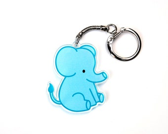 Elephant Keychain, Blue Chubby Elephant Key Chain, Cute Zoo Animal, Kawaii Circus Animal Baby, Stocking Stuffer or White Elephant Gift