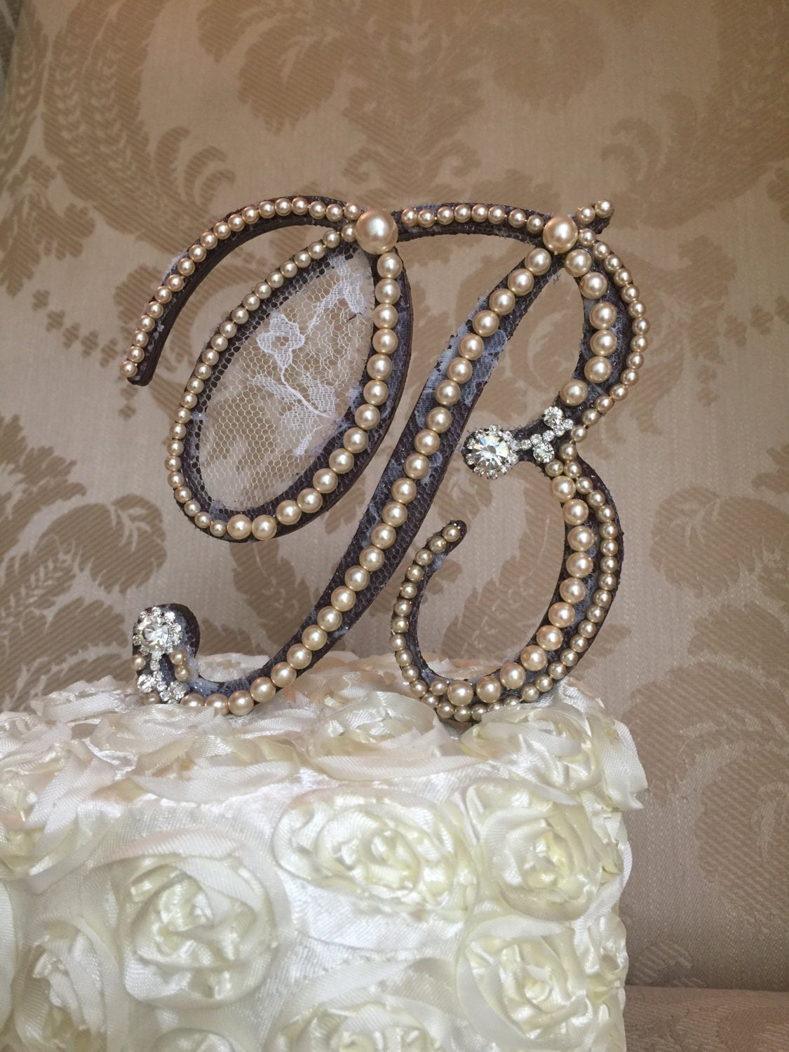 rustic woodland monogram cake toppers custom with