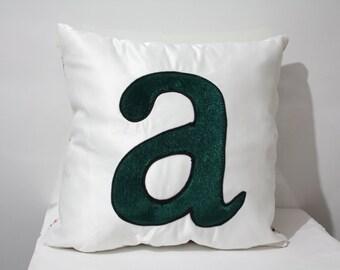 Monogram Pillow Case,Letter Pillow Cover, White Pillow Case, Appliqued Pillow Case,Two Sided Pillow Case