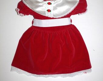 VINTAGE RED DRESS - Little Girl - Red Velvet - Rosettes - Lace - 3T