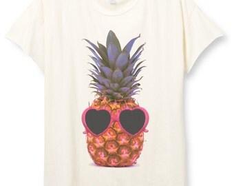 Womens Boho PINEAPPLE Sunglasses Shirt Trendy Tumblr Shirt Tee Top Bohemian Vintage Retro Cotton Fashion Short Sleeve Tshirt S M L XL