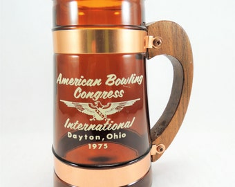 Vintage Siesta Ware Beer Mug, American Bowling Congress International, Amber Brown Glass Beer Stein, Bowling Memorabilia, 1970s Beer Mug