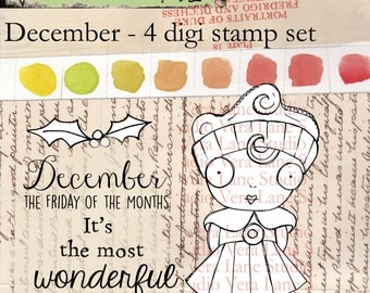 December - Whimsical and quirky winter girl for December celebrations; 4 digi stamp set