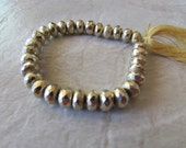 "140Ctw 8"" Strand 7mm Faceted Gold Pyrite Rondelles"
