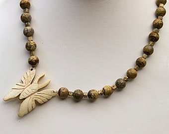 Picture Jasper with Bone Tea Dyed Butterfy
