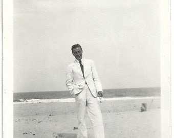 Old Photo Man wearing White Suit and White Shoes at the Beach 1920s Photograph snapshot vintage