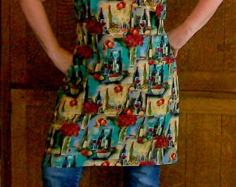 Wine and Roses Apron - Butcher Apron with Wine - Adult Size L-2XL