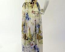 Vintage Cut Printed Floral Chiffon Dress/Classic Silhouette Dress/Floral Dress/Printed Chiffon Dress/Spring Dress/Vintage Reproduction
